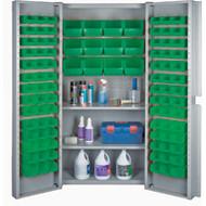 "CF374 Storage Cabinets Green bins38""Wx24""Dx72""H"