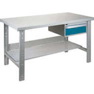 "FG293 Workbenches (steel-wood fill tops) 36""Wx72""Lx34""H"