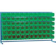 "CF367 LOUVERED Bench Racks/GREEN bins 5 1/2""W x 10 7/8""D x 5""H"