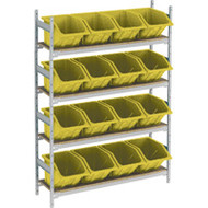 "RL983 Shelving (w/16 YELLOW plastic bins)  66""Wx18""Dx72""H"