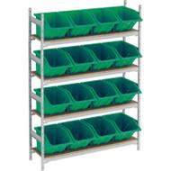 "RL982 Shelving (w/16 GREEN plastic bins)  66""Wx18""Dx72""H"