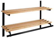 Infinite Wall-Mounted Wooden Adjustable Coat Rack with Hanger Bar and Two Shelves 150-119 - Unlimited Sizes