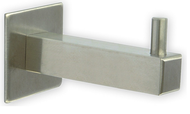 """Brushed Stainless Steel Single Prong Coat Hook 241-367 - Square 2.45"""" Long"""