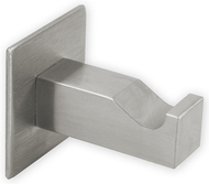 "Brushed Stainless Steel Single Prong Coat Hook 241-386 - Square 1.65"" Long"
