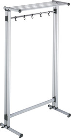 "Steel Rolling or Freestanding 39"" Wide Coat Rack with Storage Shelf, 5 Hooks and Hanger Bar - 383-194"