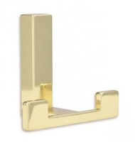 Zinc Alloy Double Prong Coat Hook 232-505 - Bright Brass Finish