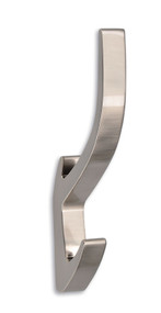 Double Prong Zinc Alloy Coat Hook 243-221 - Brushed Nickel Finish