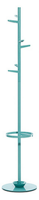 Steel and Aluminum Painted Coat Tree with 6 Hooks and Umbrella Ring 231-312 - Turquoise