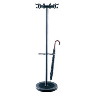 Metal Coat Tree with 12 Double Prong Hooks and Umbrella Ring 231-313 - Textured Black