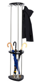 Wood and Steel Coat Tree with Umbrella Stand 204-176 - Black Finish