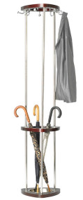 Wood and Steel Coat Tree with Umbrella Stand 204-178 - Mahogany
