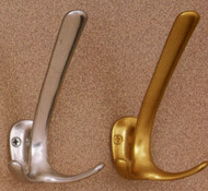 Aluminum Triple Prong  Coat Hook 196-280 - Gold or Silver Finish