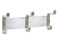 Wall-Mounted 3 Double Hook Coat Hook Rail 170-103 - Satin Aluminum