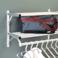Aluminum Wall-Mounted Coat Rack with Hanger Bar and Two Storage Shelves 176-903 - Multiple Sizes