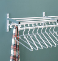 Aluminum Wall-Mounted Coat Rack with Hanger Bar, Hook Rail and Storage Shelf  178-901 - Multiple Sizes