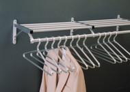 Aluminum Wall-Mounted Coat Rack with Hanger Bar and Storage Shelf 176-901 - Multiple Sizes