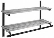 Infinite Wall-Mounted Aluminum Adjustable Coat Rack with Hanger Bar and Two Shelves 150-129 - Unlimited Sizes