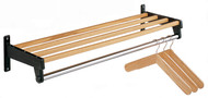 Steel Wall-Mounted Coat Rack with Wood Shelf Slats and Stainless Steel Hanger Bar 230-406 - Multiple Finishes and Sizes