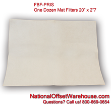 "Prisco Mat Filter, 20"" x 27"" flat only (Dozen)"