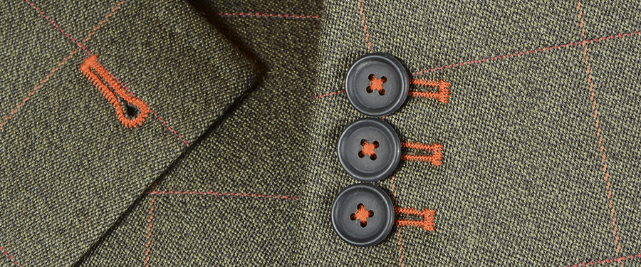 Green Check Covert Coat with Orange Buttonhole Thread
