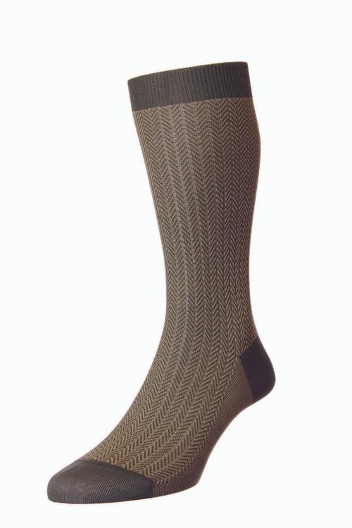 Pantherella Fabian Cotton Lisle Herringbone Socks - Light Olive