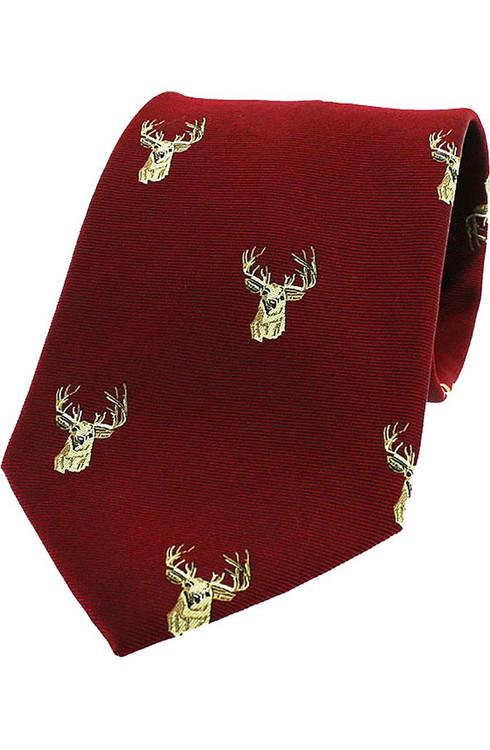 Woven Silk Stag Head Tie - Wine