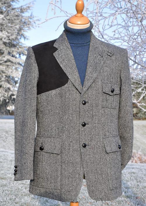 Grey Herringbone Harris Tweed Jacket