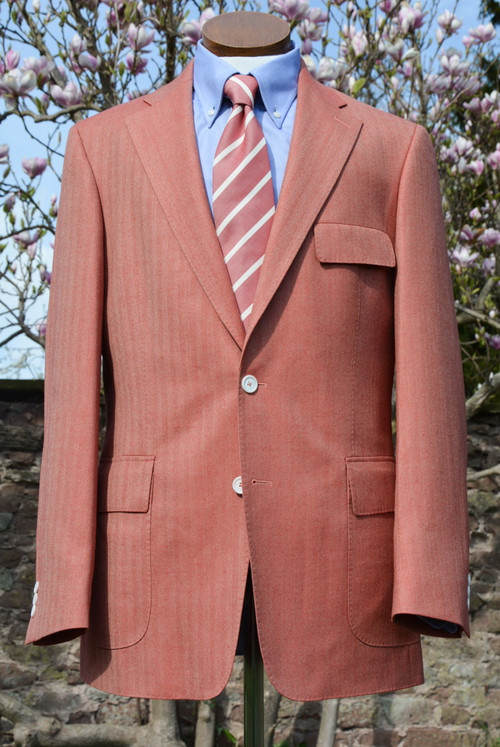 Coral Herringbone Wool Silk Linen Classic Jacket
