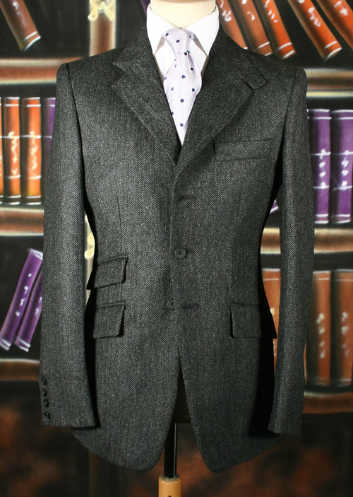 Charcoal Herringbone Tweed Jacket