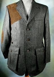 Mid Grey Herringbone Shooting Jacket