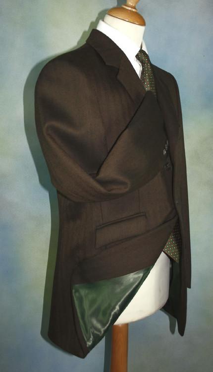 Dark Brown Herringbone Tweed Hacking Jacket