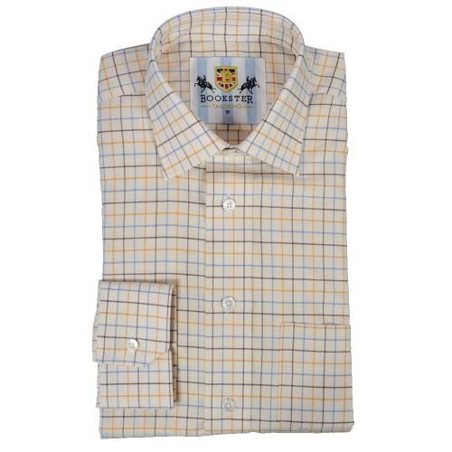Bookster Tattersall Check Shirt -  Gold Brown Blue