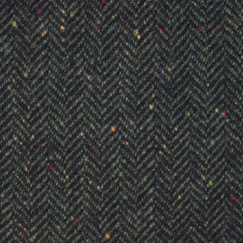 Black Evergreen Herringbone Donegal Tweed