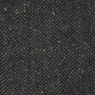 Black Evergreen Herringbone Donegal Tweed