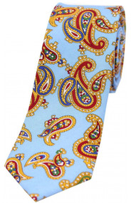 Edwardian Sky Blue Paisley Narrow Silk Tie