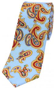 Edwardian Sky Blue Paisley Narrow Silk Tie