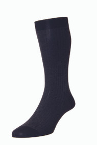 Pantherella Fabian Cotton Lisle Herringbone Socks - Black