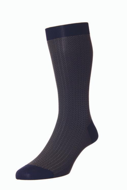 Pantherella Fabian Cotton Lisle Herringbone Socks - Navy