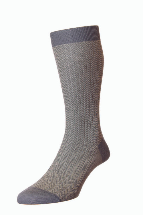 Pantherella Fabian Cotton Lisle Herringbone Socks - Mid Grey
