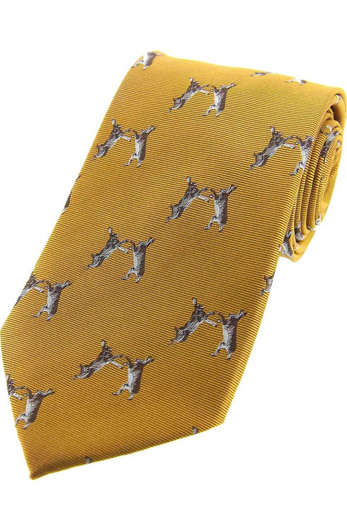 Woven Silk Boxing Hares Tie -  Yellow
