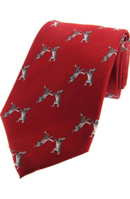 Woven Silk Boxing Hares Tie -  Red