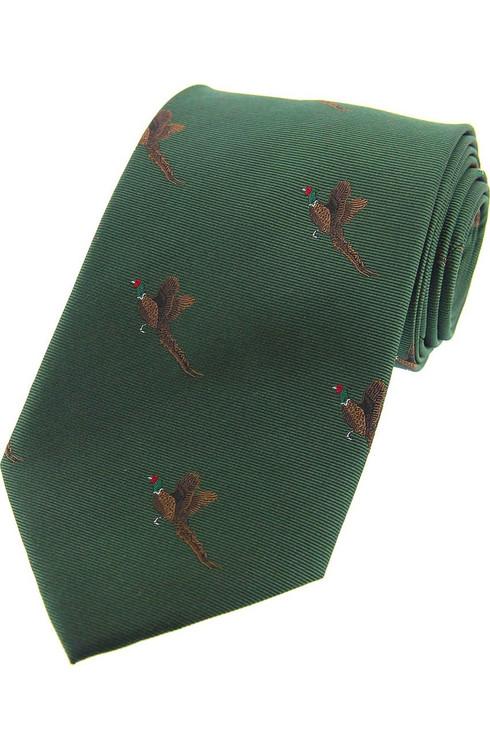 Woven Silk Flying Pheasants Tie -  Green