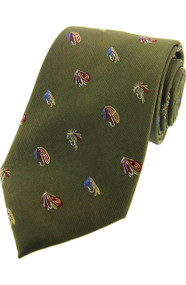 Woven Silk Fishing Flies Tie -  Green