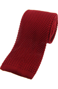 Knitted Silk Tie -  Rich Red