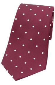 Woven Silk Polka Dot Tie -  Wine