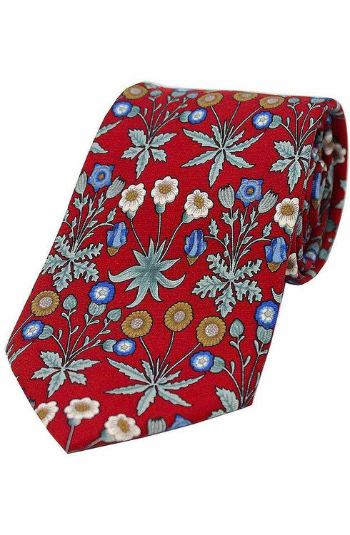Floral Silk Tie -  Red/Multi