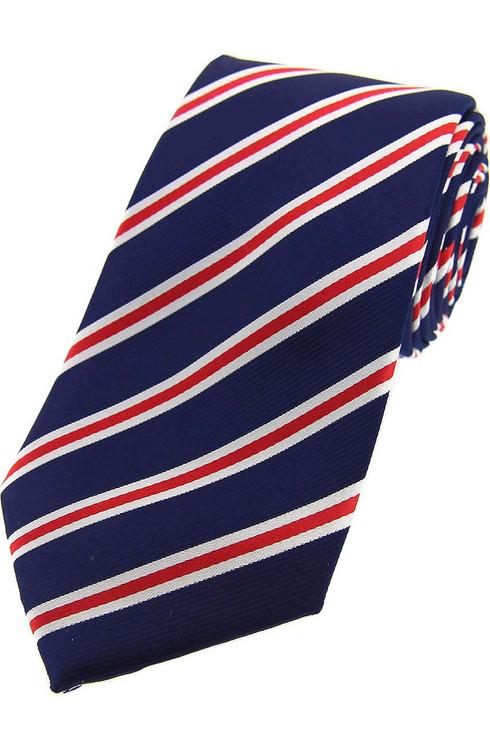 Woven Silk Tie - Navy/Red/White Stripe