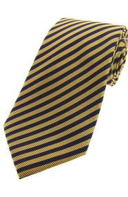 Woven Silk Tie - Navy/Gold Stripe