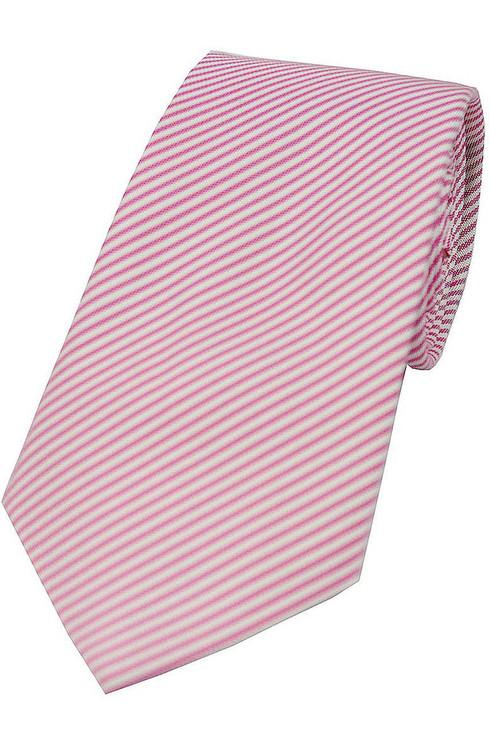 Woven Silk Tie - Soft Red/White Stripe