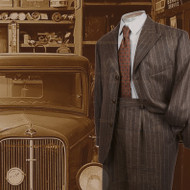 Vintage Style  Brown Chalk Stripe Flannel Suit 2